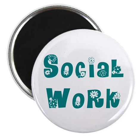 Social Work Floral Magnet
