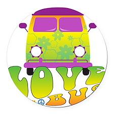Love Bus Round Car Magnet