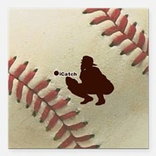 "iCatch Baseball Square Car Magnet 3"" x 3"""
