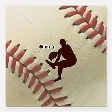 "iPitch Baseball Square Car Magnet 3"" x 3"""