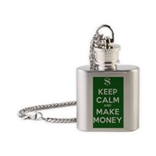Keep Calm and Make Money Flask Necklace