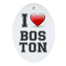 I LOVE BOSTON - HEART Oval Ornament