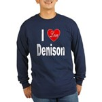 I Love Denison (Front) Long Sleeve Dark T-Shirt