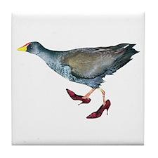 Bird Wearing Red Shoes Tile Coaster