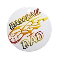 Baseball Dad (flame) copy Round Ornament