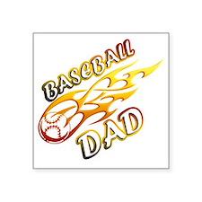 "Baseball Dad (flame) copy Square Sticker 3"" x 3"""