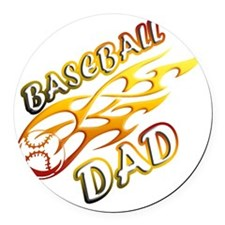 Baseball Dad (flame) copy Round Car Magnet