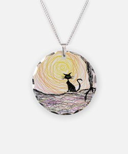 wiccan pagan black kitty cat Necklace