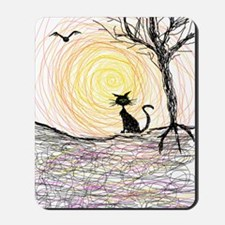 wiccan pagan black kitty cat black hallo Mousepad