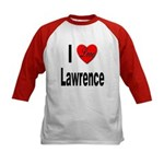 I Love Lawrence (Front) Kids Baseball Jersey
