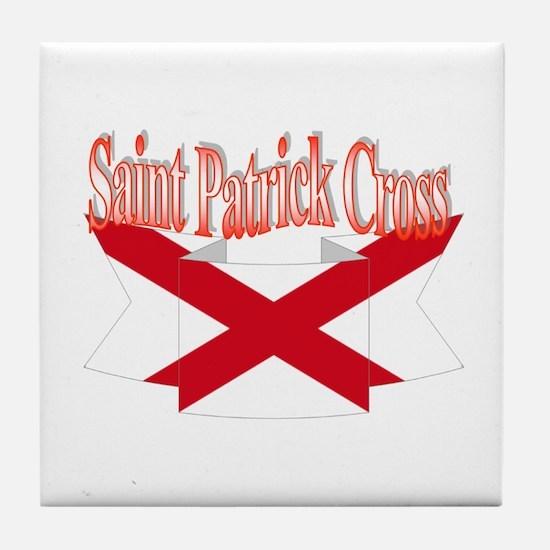 St Patrick Cross flag ribbon Tile Coaster