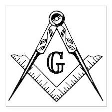 "Freemason Square Car Magnet 3"" x 3"""