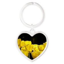 Yellow Tulips Heart Keychain