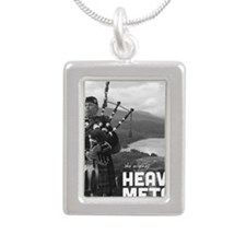 Heavy Metal Bagpipes Silver Portrait Necklace