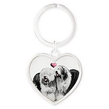 Ole English Sheepdog Pair Heart Keychain