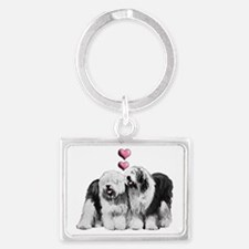 Ole English Sheepdog Pair Landscape Keychain