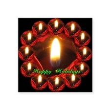 "Happy Holidays Twelve Candl Square Sticker 3"" x 3"""