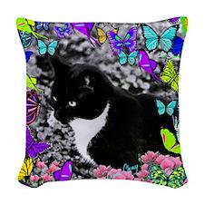 Freckles in Butterflies II Woven Throw Pillow