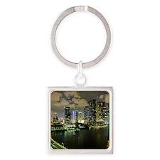 Miami @ Night Square Keychain