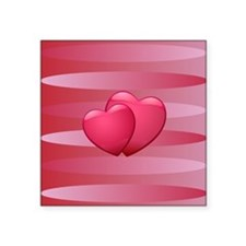 "Cute lover hearts valentine Square Sticker 3"" x 3"""