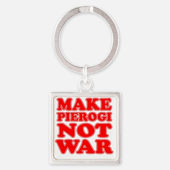 Make Pierogi Not War Apron Square Keychain