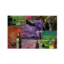 Wine Series Collage Print Rectangle Magnet