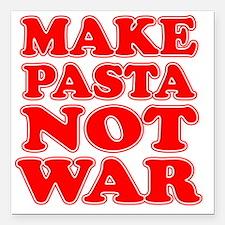 "Make Pasta Not War Apron Square Car Magnet 3"" x 3"""