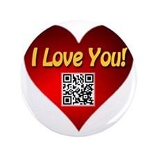 "I Love You Heart With Smart Phone App 3.5"" Button"