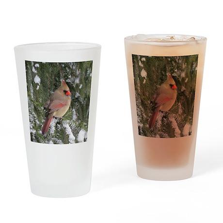 Female cardinal Drinking Glass