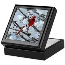 Snow Cardinal Keepsake Box