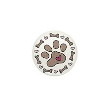 Dog Bone Circle Mini Button