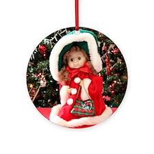 Christmas Caroling Doll I Round Ornament