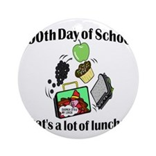 100th Day Lunches Round Ornament