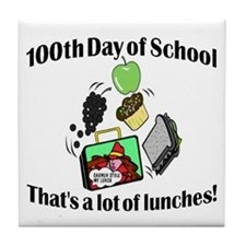 100th Day Lunches Tile Coaster