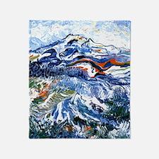 Abstract Mt Rainier Throw Blanket