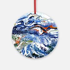 Abstract Mt Rainier Round Ornament