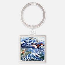 Abstract Mt Rainier Square Keychain