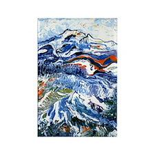 Abstract Mt Rainier Rectangle Magnet