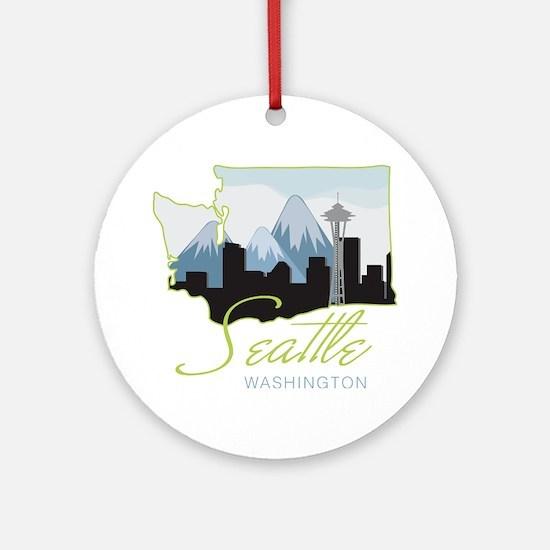 Seatle  Washington Round Ornament