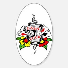 Lady Luck Tattoo Oval Decal