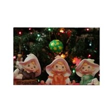 Three Christmas Elves Rectangle Magnet