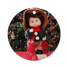 Christmas Caroling Doll II Round Ornament