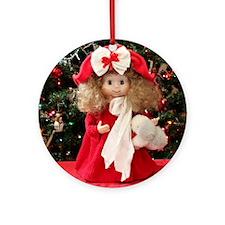 Christmas Caroling Doll III Round Ornament