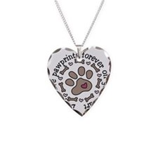 Pawprints Necklace Heart Charm