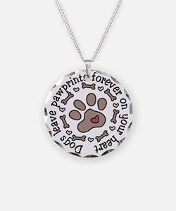 Pawprints Necklace Circle Charm