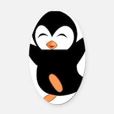 Little Ninja Penguin Oval Car Magnet