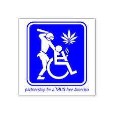 "Thug Free America A2 Square Sticker 3"" x 3"""