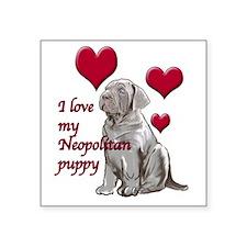 """Neopolitan Puppy Love Square Sticker 3"""" x 3"""""""