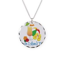 Island Time Necklace Circle Charm