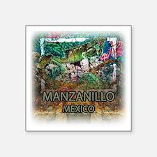 """Iguana Manzanillo Mexico Square Sticker 3"""" x 3"""""""
